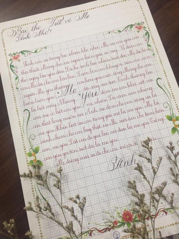 Bài thi viết chữ đẹp của giáo viên - Bút máy thanh đậm Ánh Dương