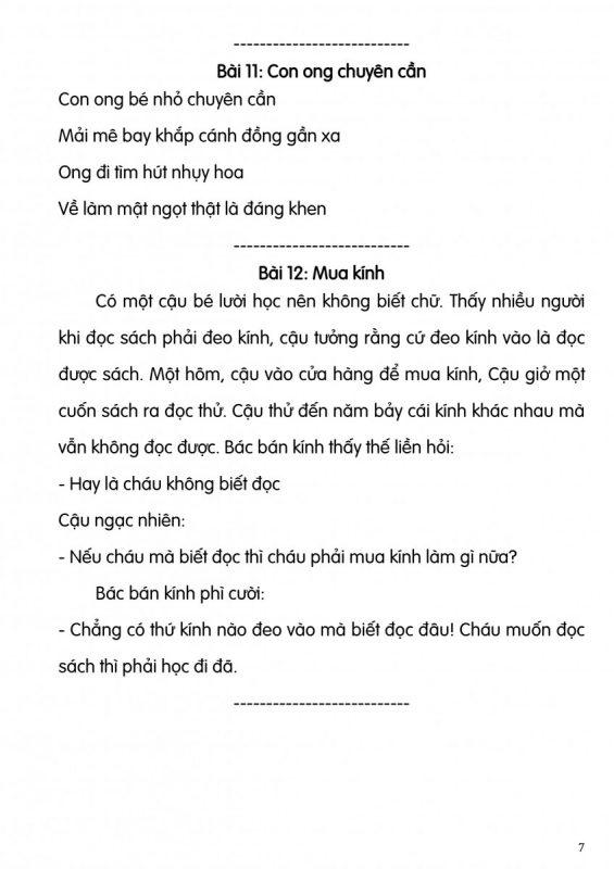bài tập đọc cho học sinh lớp 1
